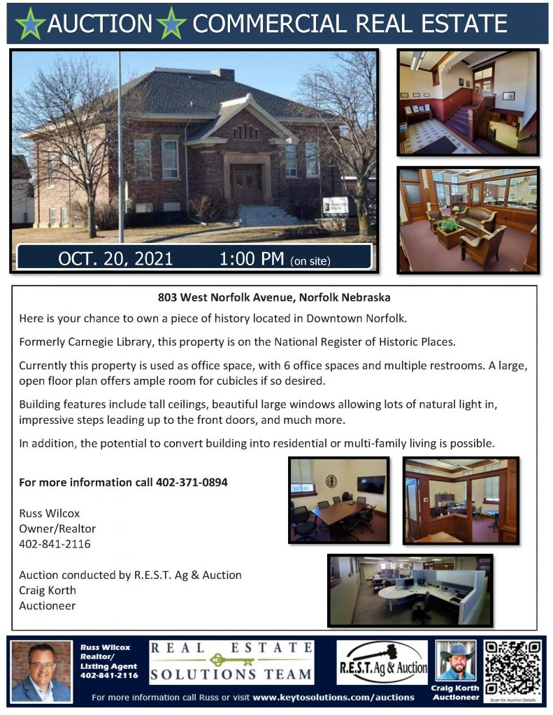 Here is your chance to own a piece of history located in Downtown Norfolk. Formerly Carnegie Library, this property is on the National Register of Historic Places. Currently this property is used as office space, with 6 office spaces and multiple restrooms. A large, open floor plan offers ample room for cubicles if so desired. Building features include tall ceilings, beautiful large windows allowing lots of natural light in, impressive steps leading up to the front doors, and much more. In addition, the potential to convert building into residential or multi-family living is possible.   For more information call 402-371-0894  Russ Wilcox Owner/Realtor 402-841-2116   Auction conducted by R.E.S.T. Ag & Auction Craig Korth Auctioneer